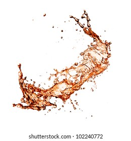 Cola splash, isolated on white background