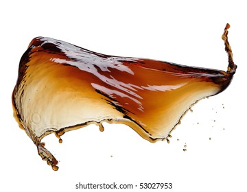 Cola splash isolated on white