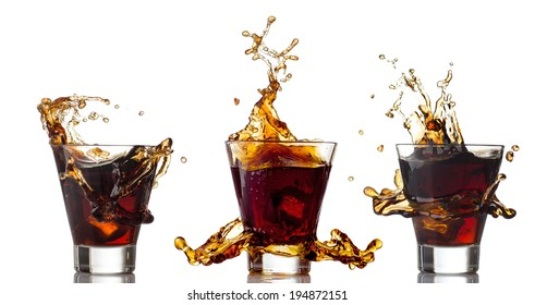 Cola splashing in glass