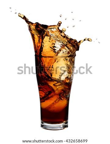Cola splashing out of