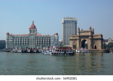 Colaba, Mumbai from the sea A view of the magnificent Gateway to India beside the Taj hotel and Tower hotel viewed from the harbour at Mumbai (formerly Bombay).