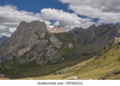 Colac mountain with Marmolada's Punta Penia summit in background as seen from Ciampac place, Buffaure-Ciampac ski-area, above Pozza di Fassa and Penia villages, Dolomites, South Tyrol, Italy
