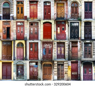 A colage of 28 vintage doors in Odessa