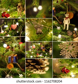 Colage with christmas tree decorations