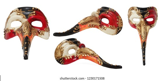 Colage with a colorful long nose Venetian mask in various positions isolated against a white background.