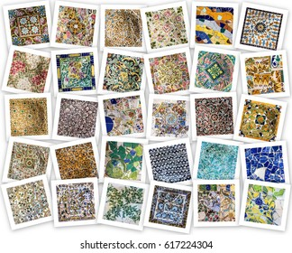 Colage of tile decoration, broken glass mosaic, Park Guell, Barcelona, Spain. Designed by Gaudi