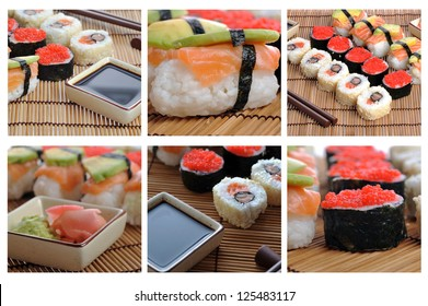 colage with traditional Japanese sushi