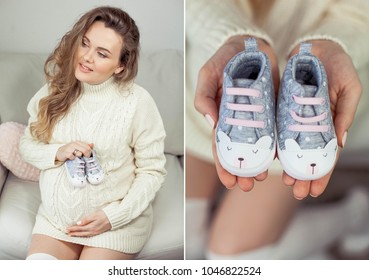 Colage. A young beautiful pregnant woman touches her tummy. A pregnant woman in a knitted dress sits on the sofa and holds children's shoes. Motherhood. Pregnancy. Portrait of a happy pregnant woman.