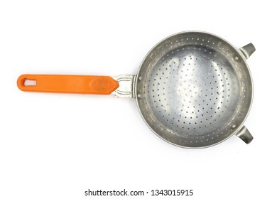 Colander, small colander , old colander , Colander with orange handle isolated on white background.