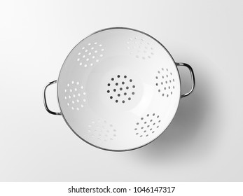 Colander with white background.Top view