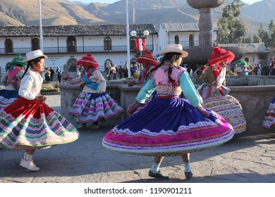 Colca Canyon, Arequipa, Peru - July 29, 2015: Peruvian kids dancing traditional choreography at festival