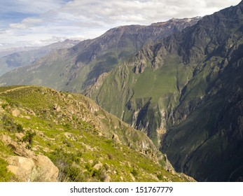 Colca Canyon, Arequipa, Peru.  This Canyon is more than twice as deep as the Grand Canyon in the United States at 13,650 ft (4,160 m) depth.