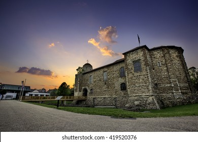 Colchester Castle at sunset time