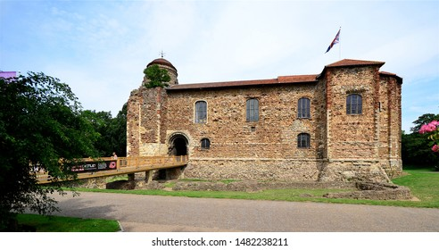 COLCHESTER, ESSEX, UK - AUGUST 4, 2019. The Castle Keep built around 1076 under King William the First of England with later alterations in the town of Colchester in the county of Essex, UK.