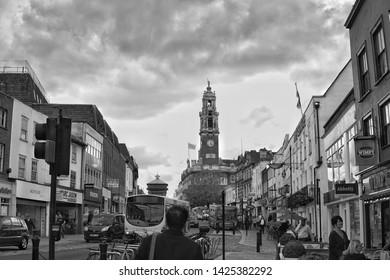 Colchester high street black and white. Colchester Essex 15 June 2019 illustative editorial