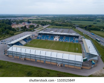 COLCHESTER, UK - 2017: Aerial view of Colchester Football Stadium