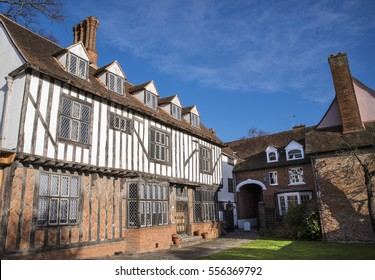 COLCHESTER, UK - JANUARY 14TH 2017: The beautiful Tudor style architecture of the building that houses Tymperleys tea room in the historic town of Colchester, on 14th January 2017.