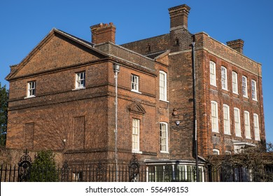 COLCHESTER, UK - JANUARY 14TH 2017: A view of the 18th Century house which is home to the Hollytrees Museum in Colchester, on 14th January 2017.  The museum specialises in local history of the area.