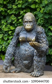 COLCHESTER, UK - MAY 12TH 2018: A statue of a Gorilla at Colchester Zoo in Essex, UK, on 12th May 2018.