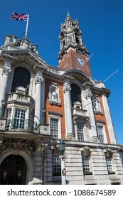 COLCHESTER, UK - MAY 7TH 2018: A view of the impressive architecture of Colchester Town Hall in the market town of Colchester in Essex, UK, on 7th May 2018.