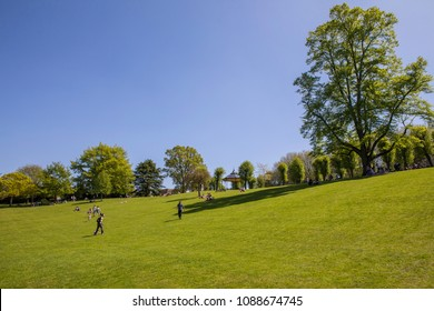 COLCHESTER, UK - MAY 7TH 2018: A view inside the beautiful Colchester Castle Park in the historic town of Colchester, Essex, on 7th May 2018.