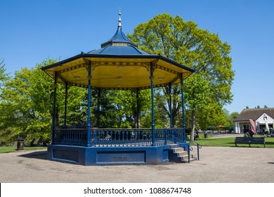 COLCHESTER, UK - MAY 7TH 2018: A view of the bandstand in the beautiful Colchester Castle Park in the historic town of Colchester, Essex, UK, on 7th May 2018.