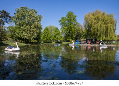 COLCHESTER, UK - MAY 7TH 2018: A view of the boating lake in Colchester Castle Park in the historic town of Colchester, Essex, UK, on 7th May 2018.