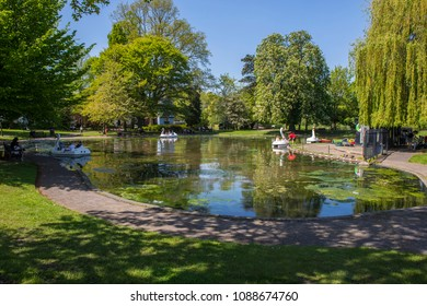 COLCHESTER, UK - MAY 7TH 2018: A view of the boating lake in Colchester Castle Park in the historic town of Colchester, Essex, on 7th May 2018.