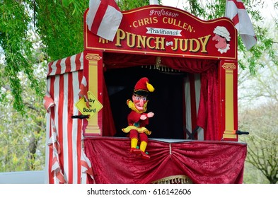 Colchester United Kingdom -1 April  2017:  Traditional Punch and Judy booth with Mr Punch