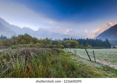 Cold atumn morning at sunrise with Julian Alps in background.
