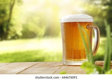 Cold beer in garden space