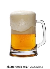 Cold beer in glass isolated on white background