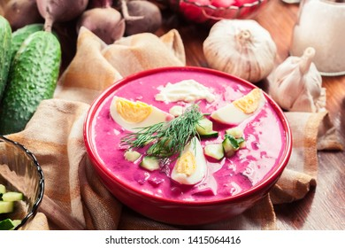 Cold beet soup with egg, cucumber and greens. Traditional Belarusian, Latvian, Lithuanian, Polish, Russian and Ukrainian soup