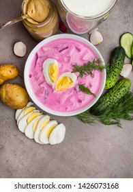 Cold beetroot soup. Holodnik.Traditional Lithuanian ukrainian, russian, polish red beet soup. Cold borscht with cucumbers, dill and eggs
