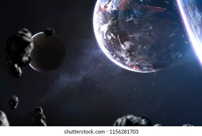 Cold blue planets, awesome science fiction wallpaper, cosmic landscape. Elements of this image furnished by NASA