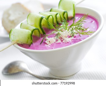 Cold borscht - speciality for hot days. Vegetable cold soup with beetroots. Shallow depth of field, selective focus