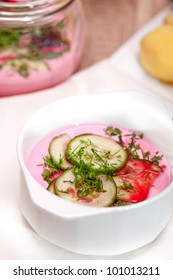 Cold borscht - vegetable cold soup with beetroots