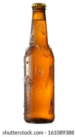 cold bottle of beer with ice on white background