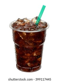 Cold brew coffee in takeaway cup. Clipping path included