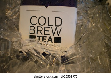 cold brew tea in bottle with ice