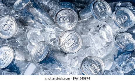 cold cans inside a cooler filled with ice