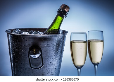 Cold chilled champagne in ice bucket