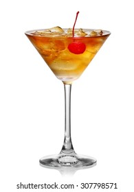 Cold cocktail with a cherry in martini glass