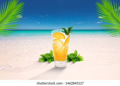 cold cocktails on sand at beach