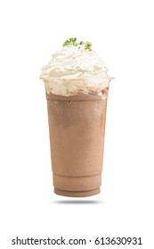Cold cocoa with whipped cream isolated white background.