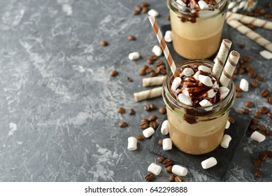 Cold coffee frapuchino with cream and marshmallow
