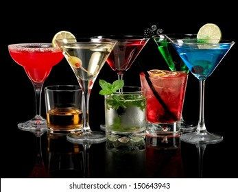 Cold color cocktails on black background