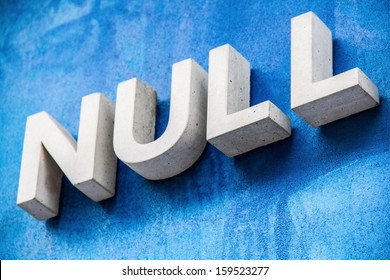 Cold concrete Null sign on cold blue background