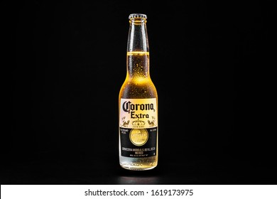cold corona beer on black background