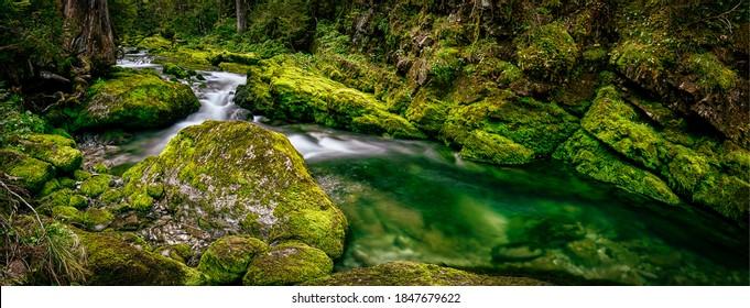 Cold creek mossy rocks panorama. Mossy rocks cold creek. Cold creek mossy rocks